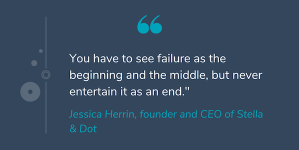"""Quote by Jessica Herrin that reads """"You have to see failure as the beginning and the middle, but never entertain it as an end."""""""
