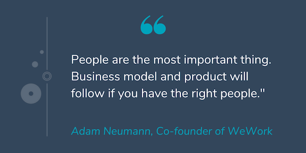 "Quote by Adam Neumann that reads ""People are the most important thing. Business model and product will follow if you have the right people."""