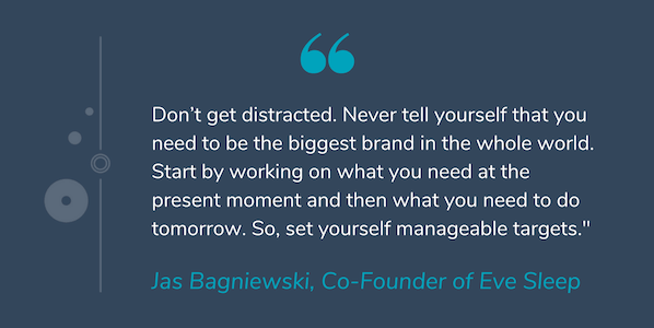 "Quote by Jas Bagniewski that reads ""Don't get distracted. Never tell yourself that you need to be the biggest brand in the whole world. Start by working on what you need at the present moment and then what you need to do tomorrow. So, set yourself manageable targets."""