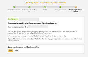 associates central final screen to enter payment and tax information