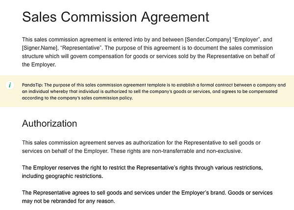 Sales Commission Agreement from PandaDoc