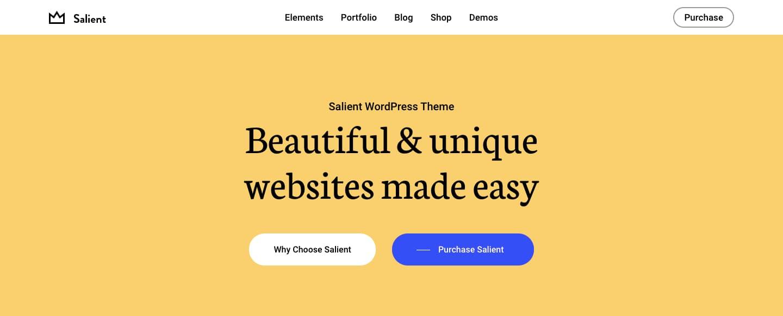 Salient theme demo with sticky menu