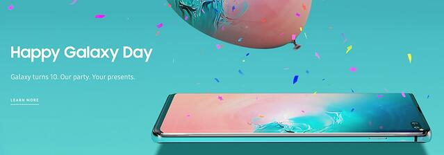Headline and subheading announces Samsung Galaxy's 10th birthday