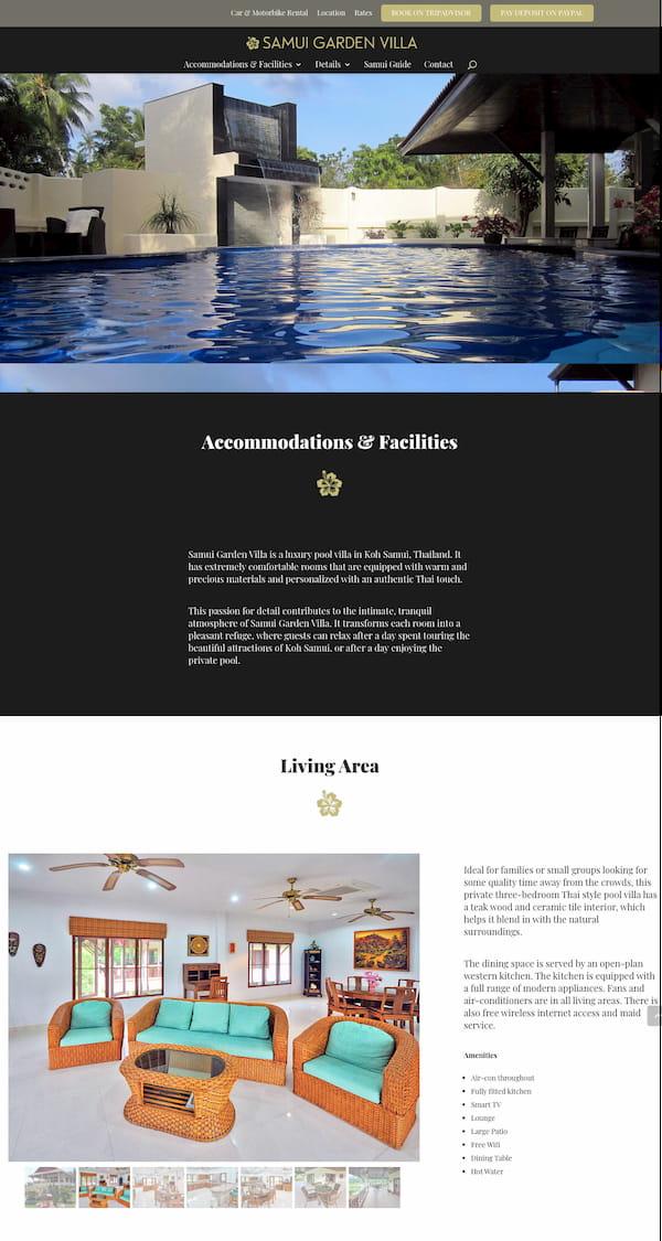 Samui Garden Villa website built with Divi theme