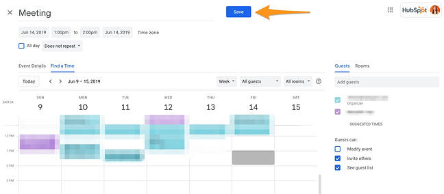 Select and save a meeting time in Google calendar using the blue button at the top right of the interface