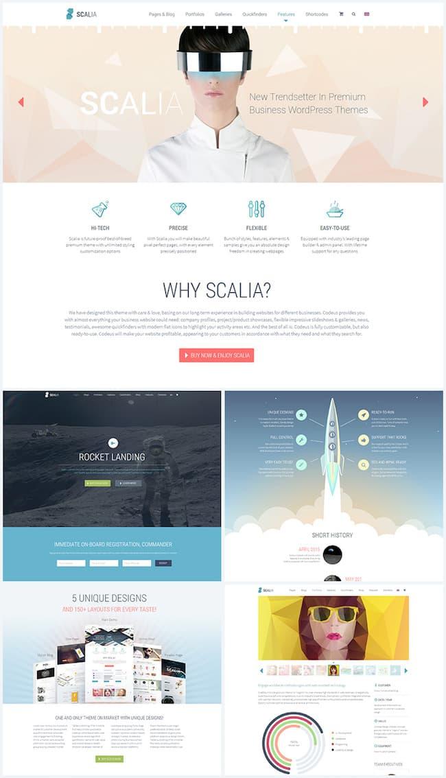 the one page WordPress theme Scalia