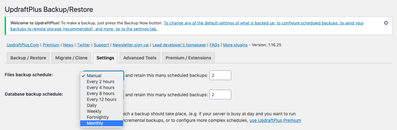Schedule manual or auto backups in UpdraftPlus plugin settings