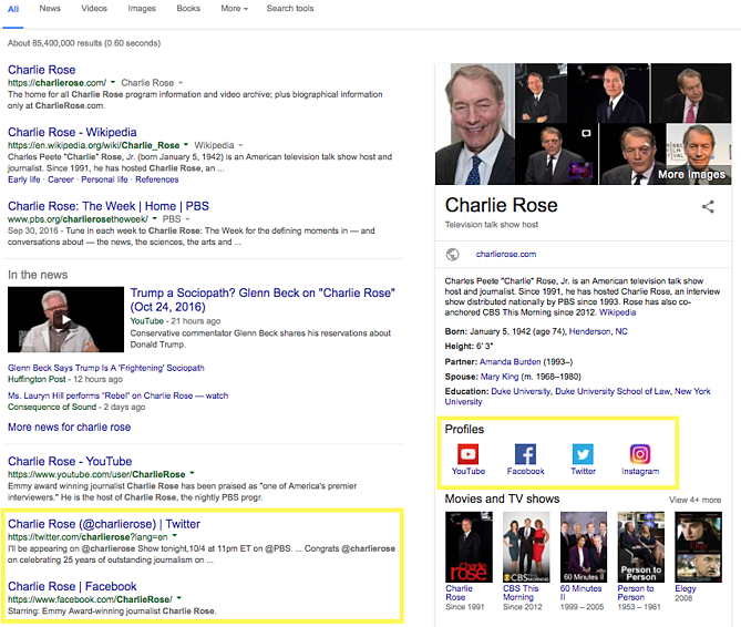 Charlie Rose google search