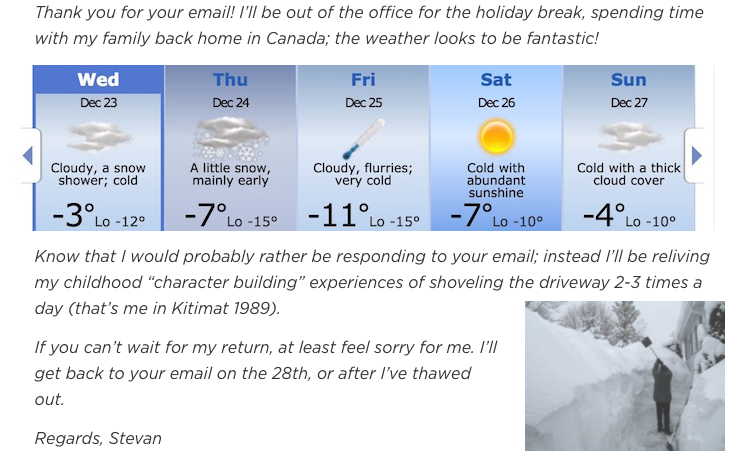 The Not-So-Tropical Getaway out of office email