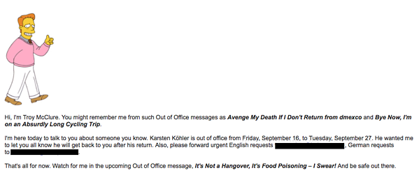 An out of office email written in the third person with a picture of Troy McClure from The Simpsons