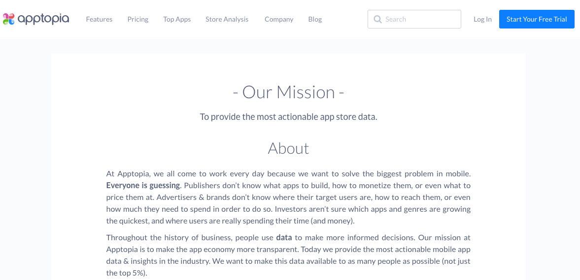 Apptopia about us page
