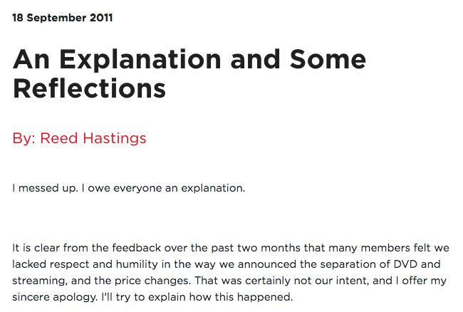 NetflixFirstApology  Letter Of Apology For Mistake