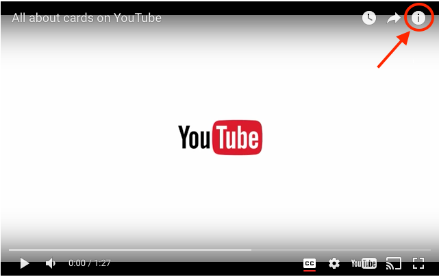 """""""i"""" icon to create End Cards in YouTube video"""