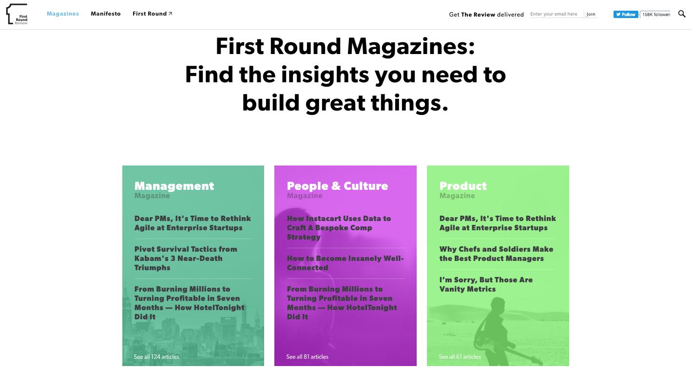 B2B marketing First Round Magazines