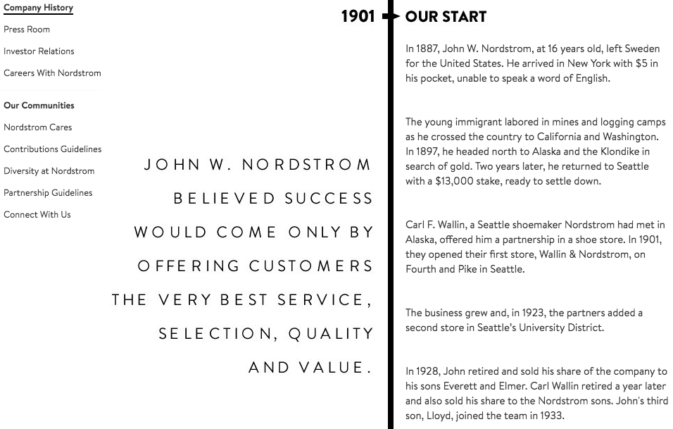 Nordstrom history, vision and mission statement