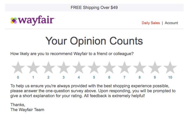 wayfair feedback email