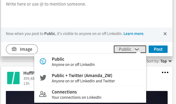 Share your LinkedIn status updates on Twitter