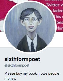 Funny Twitter bio from sixthformpoet