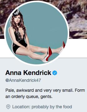 Funny Twitter bio from @AnnaKendrick47
