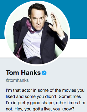 Funny Twitter bio from @TomHanks