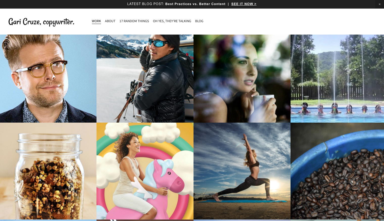 Personal website portfolio of Gari Cruze with tiled images of his photography and links to his work