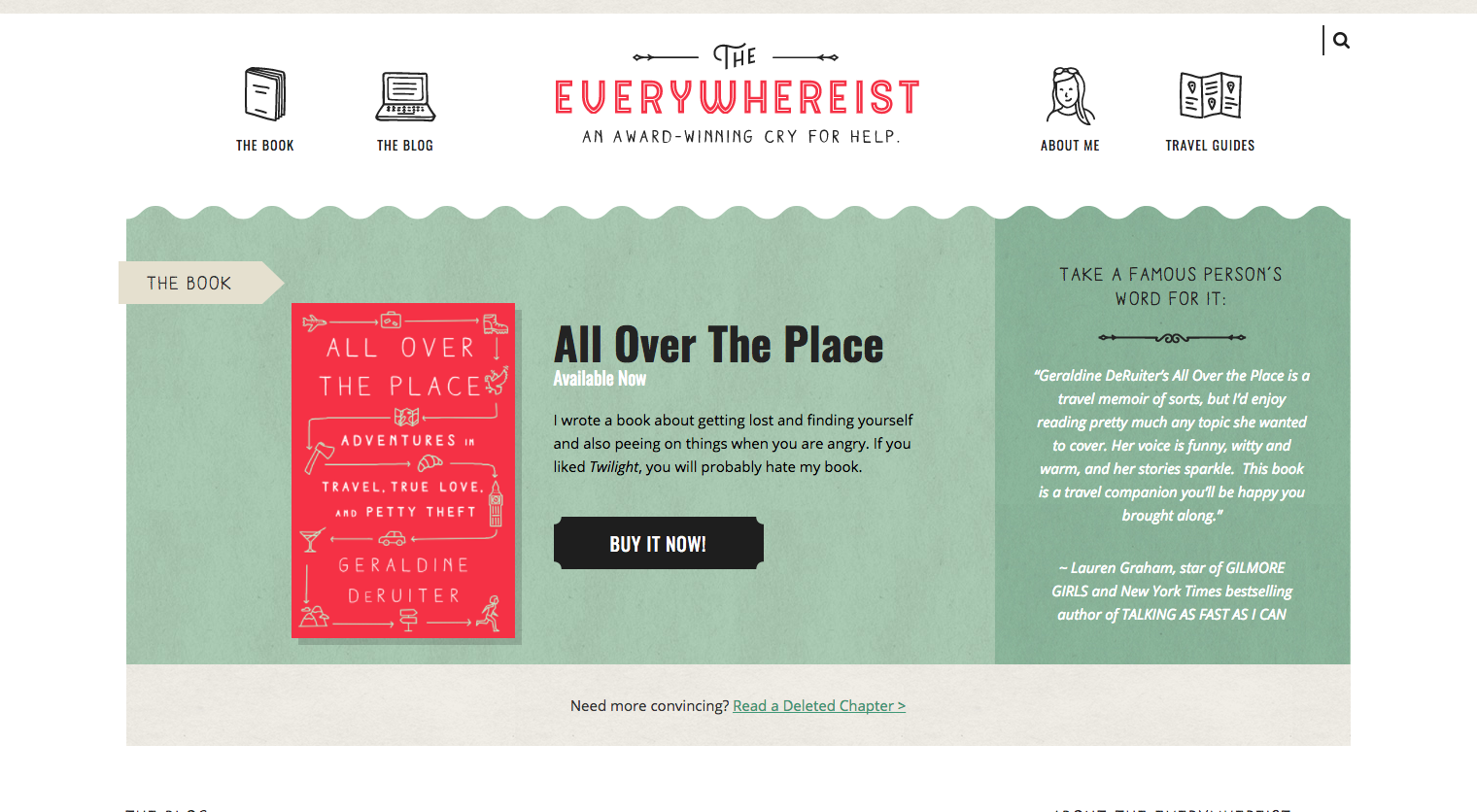 Personal blog of Everywhereist with green and red homepage