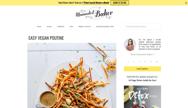 Personal food blog of Minimalist Baker with yellow and white website theme