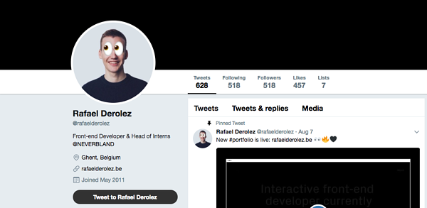 Twitter profile of Raf Derolez