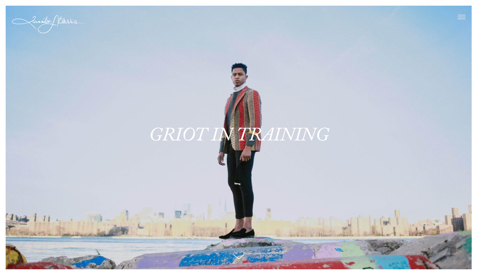 Website homepage of Quinton Harris that says 'Griot in Training' across the front