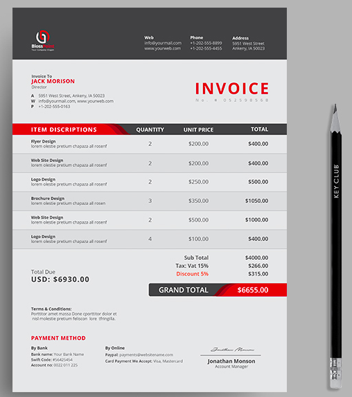 Red Invoice Sample