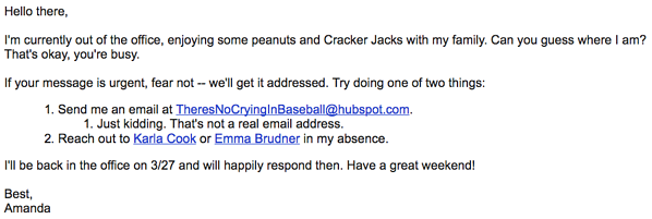 The Guessing Game out of office email that describes being at a baseball game