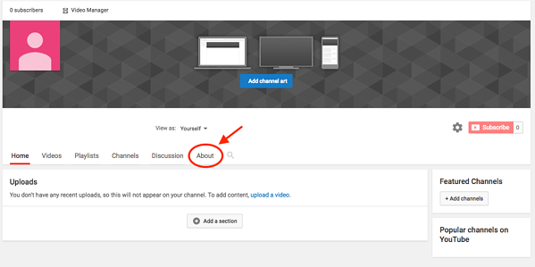 Create a Channel on Youtube