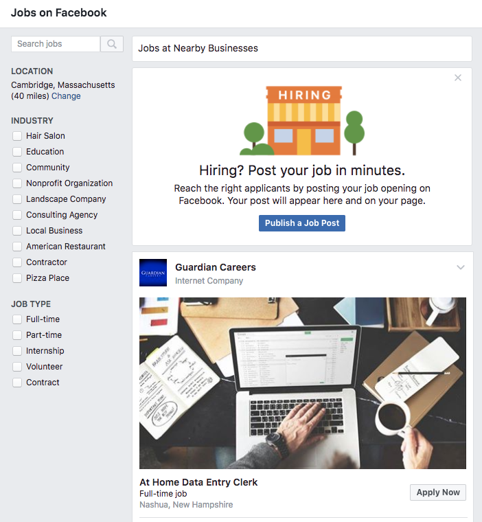 Jobs on Facebook, a recruitment tool for facebook business pages