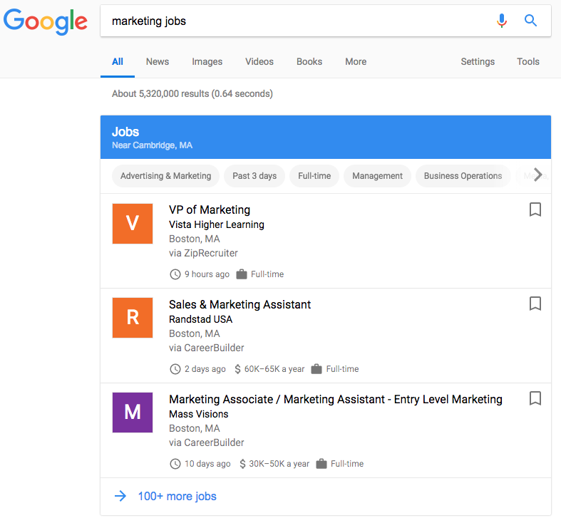 Search result for marketing jobs on Google Jobs tool