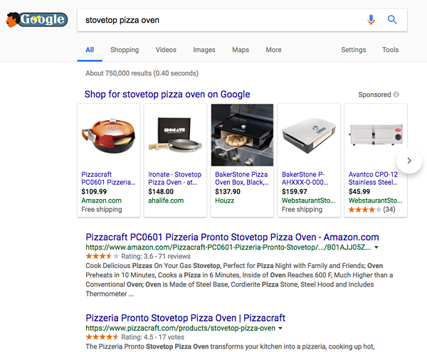 Google search result with Amazon shopping results in the featured snippet.