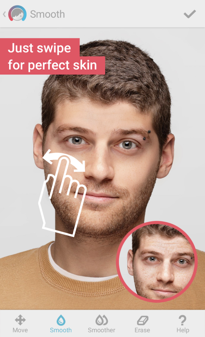 Skin tone correction using the Facetune photo editing app
