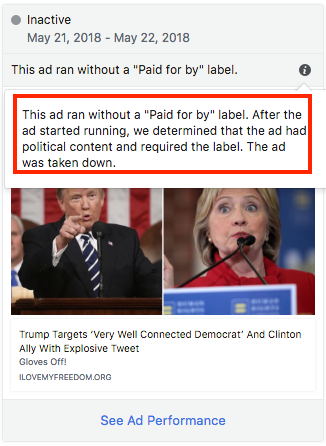 Facebook political ad without 'paid for by' label, featuring Donald Trump and Hillary Clinton