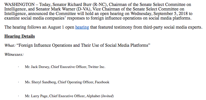 Hearing details for the foreign influence operations and their use of social media platforms