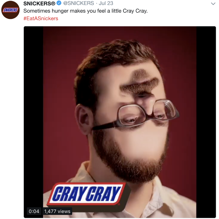 eat a snickers social media marketing campaign