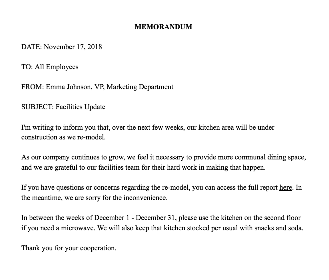 business email writing samples