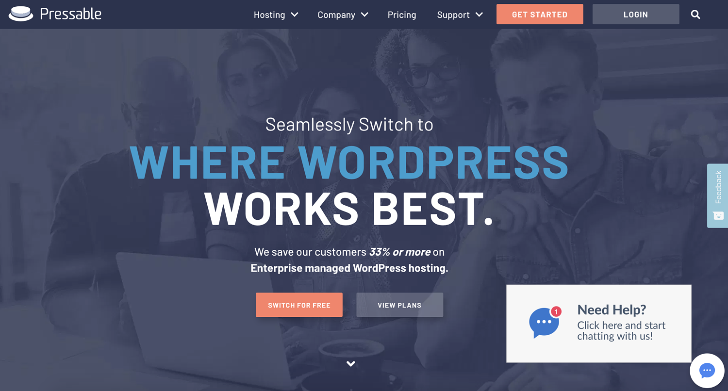 "pressable homepage that reads ""where wordpress works best"""