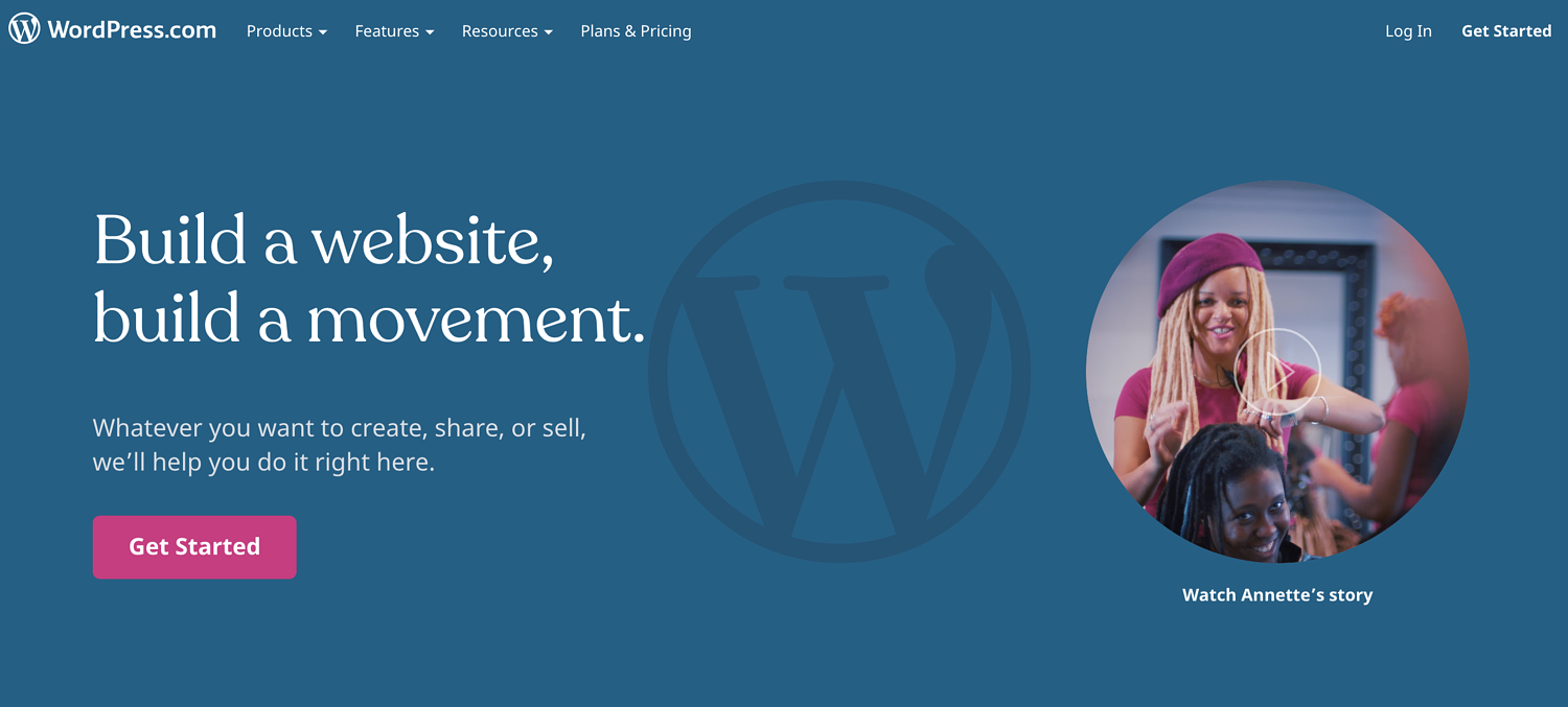"wordpress.com homepage that reads ""build a website, build a movement"""