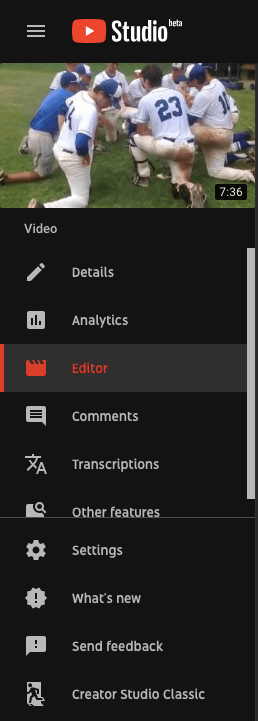 YouTube Studio Video Editor