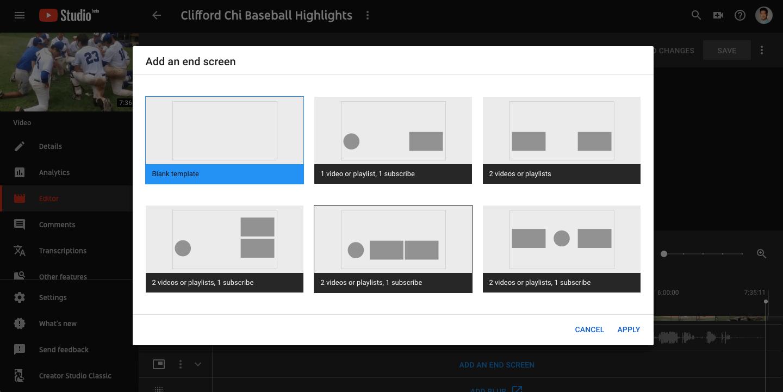 YouTube Studio End Screen Templates