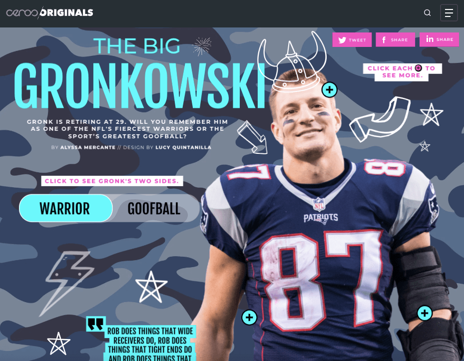 The Big Gronkowski by Ceros | Interactive Marketing Example