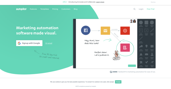 autopilot marketing automation software homepage