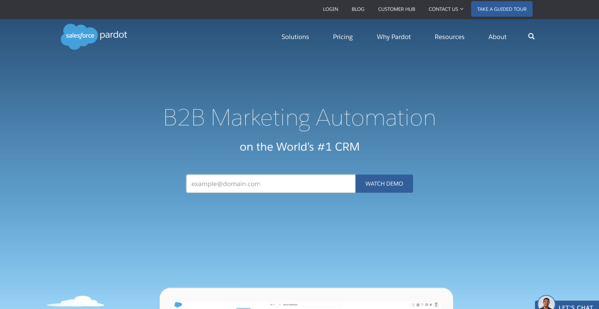 pardot b2b marketing automation software homepage
