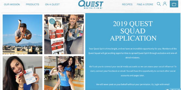 brand ambassador quest squad application
