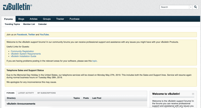 vBulletin forum example