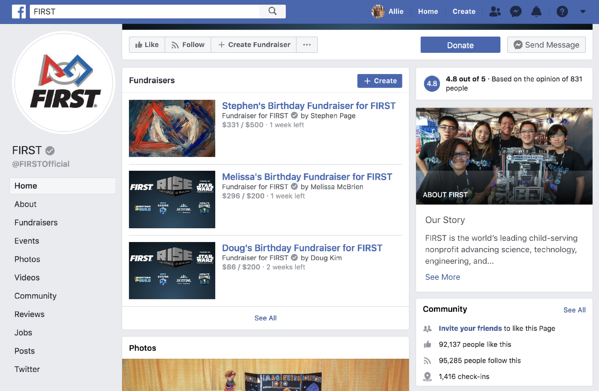FIRST's nonprofit Facebook page with Donate button